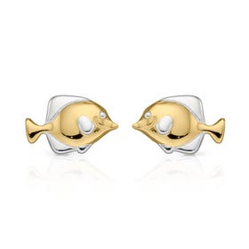 Cove Gold Plated Silver Fish Stud Earrings