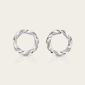 Sketch Silver Organic Circle Twisted Stud Earrings