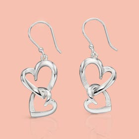 Muse Silver Layered Heart Drop Earrings