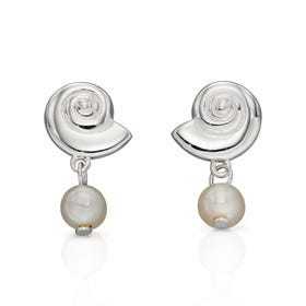 Cove Silver Shell Freshwater Pearl Earrings