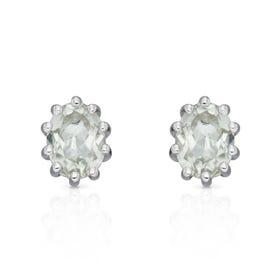 Stones Silver Green Amethyst Oval Stud Earrings