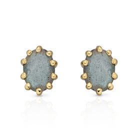 Stones Gold Plated Silver Labradorite Oval Stud Earrings
