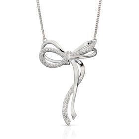 Silver Pave CZ Bow Necklace
