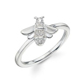 Meadow Silver CZ Bee Ring