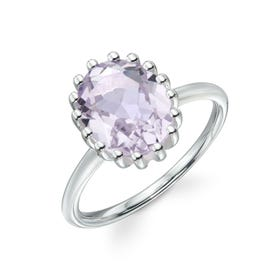 Stones Silver Pink Amethyst Oval Ring