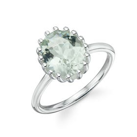 Stones Silver Green Amethyst Oval Ring