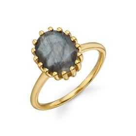 Stones Gold Plated Silver Labradorite Oval Ring