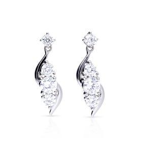 Silver Zirconia Twirl Drop Earrings