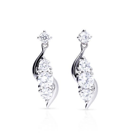 Silver Zirconia Twirl Drop Earrings
