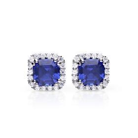 Silver White & Sapphire Zirconia Cushion Cut Stud Earrings