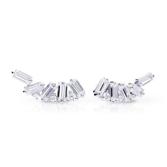 Silver Zirconia Baguette Crawler Earrings