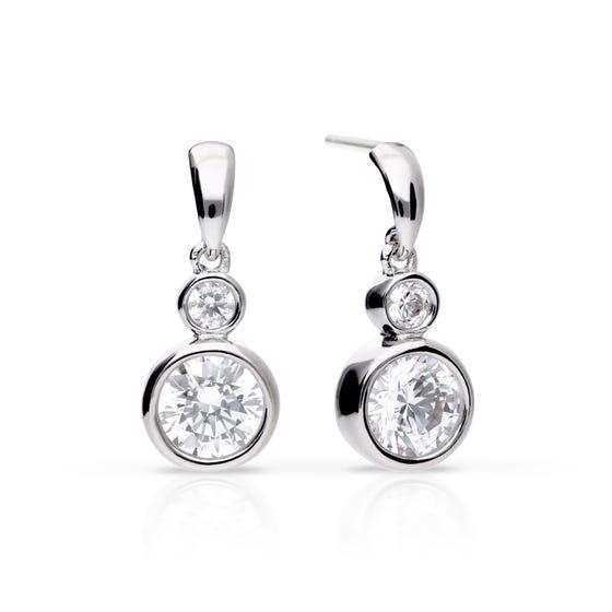 Silver Zirconia Bezel Set Double Drop Earrings