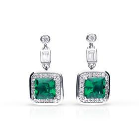 Silver White & Emerald Zirconia Art Deco Style Earrings