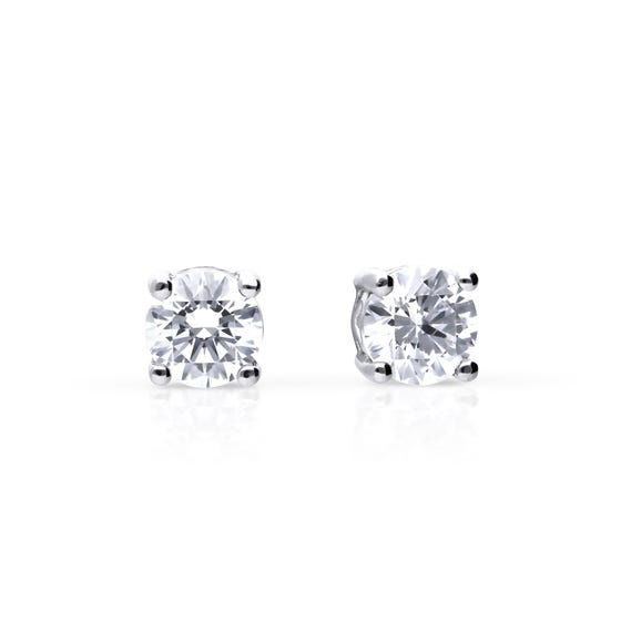 Silver Zirconia 0.5ct Four Claw Stud Earrings