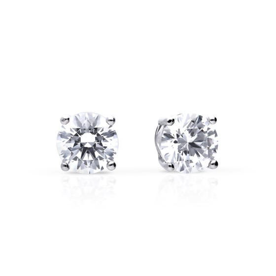 Silver Zirconia 0.75ct Four Claw Stud Earrings