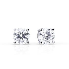 Silver Zirconia 1ct Four Claw Stud Earrings