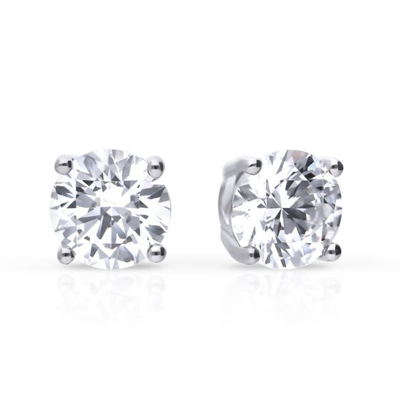 Silver Zirconia 2ct Four Claw Stud Earrings