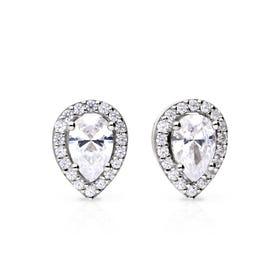 Silver Zirconia Teardrop Halo Earrings
