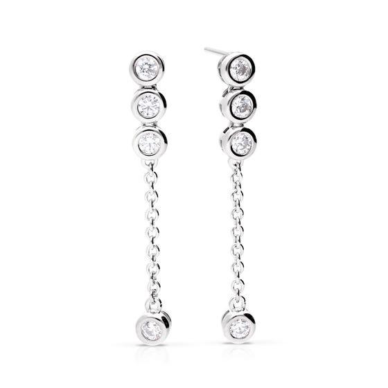 Silver Zirconia Bezel Set Drop Earrings