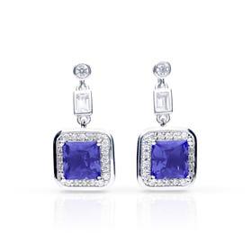 Silver White & Sapphire Zirconia Art Deco Style Earrings
