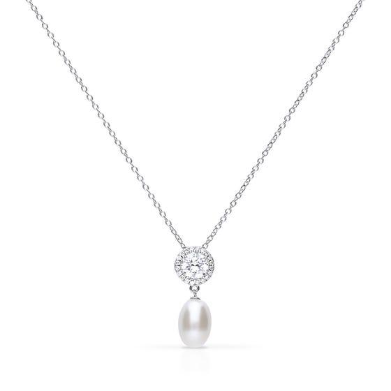 Silver Zirconia Pearl Drop Necklace