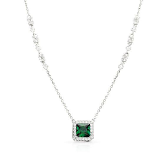 Silver White & Emerald Zirconia Art Deco Style Necklace