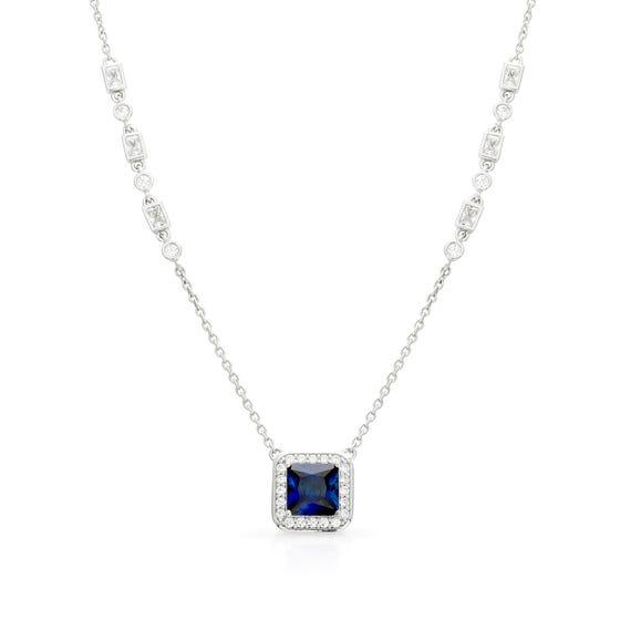 Silver White & Sapphire Zirconia Art Deco Style Necklace