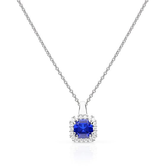 Silver White & Sapphire Zirconia Cushion Cut Necklace