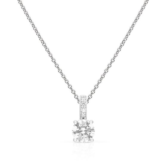 Silver Zirconia Brilliant Cut Pave Bale Necklace