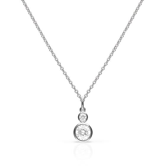 Silver Zirconia Double Bezel Set Round Necklace