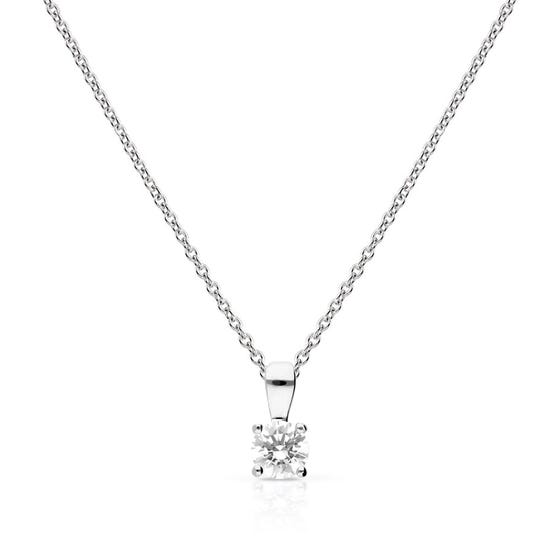 Silver Zirconia 0.5ct Four Claw Solitaire Necklace