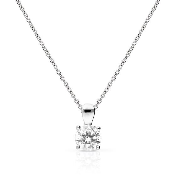 Silver Zirconia 1ct Four Claw Solitaire Necklace