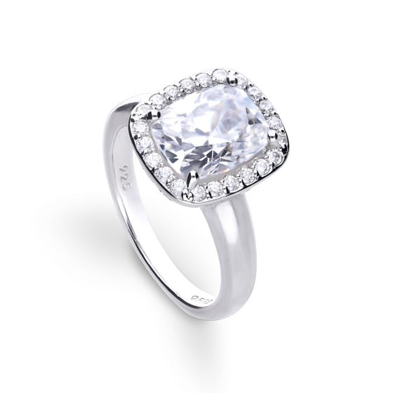Silver Zirconia Cushion Cut Statement Halo Ring