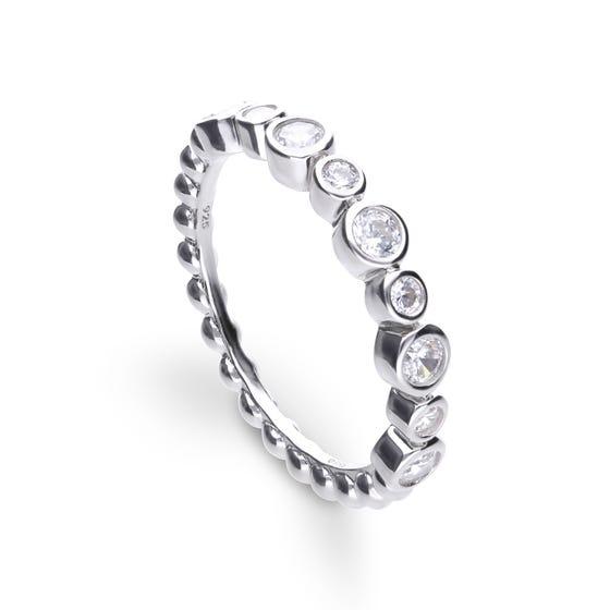 Silver Zirconia Bezel Set Eternity Ring