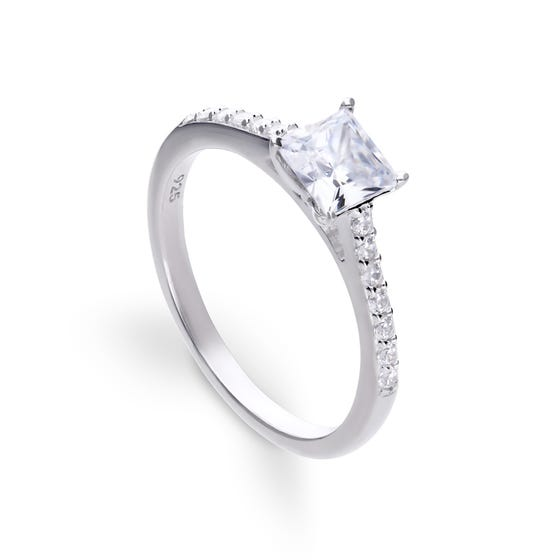 Silver Zirconia Princess Cut Ring with Pave Shoulders
