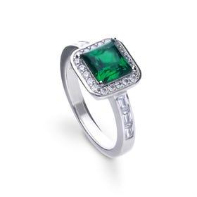 Silver White & Emerald Zirconia Art Deco Style Ring