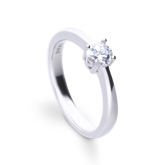Silver Zirconia 0.5ct Four Claw Solitaire Ring
