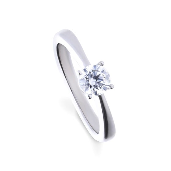 Silver Zirconia 0.75ct Four Claw Solitaire Ring