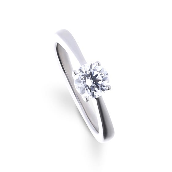 Silver Zirconia 1ct Four Claw Solitaire Ring