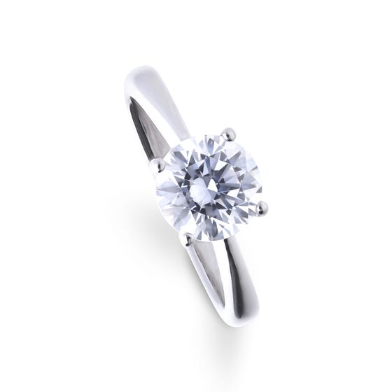Silver Zirconia 2ct Four Claw Solitaire Ring