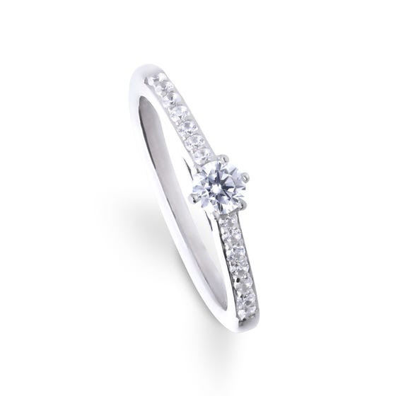Silver Zirconia Brilliant Cut Ring with Pave Shoulders