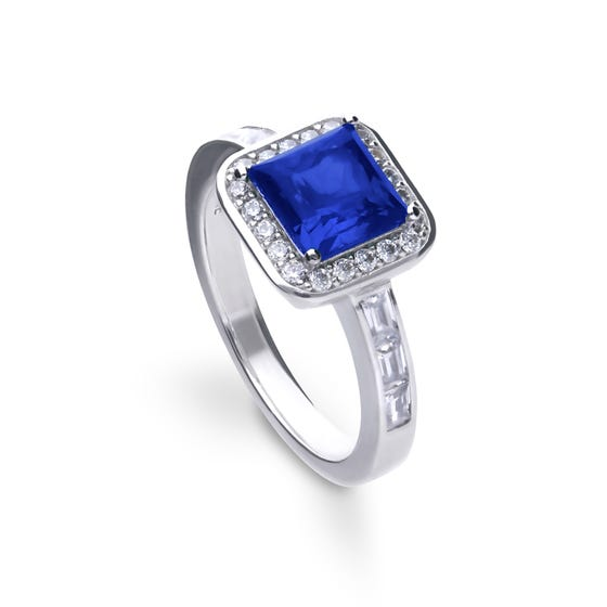 Silver White & Sapphire Zirconia Art Deco Style Ring
