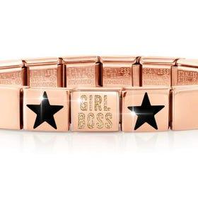 GLAM Rose Gold Girl Boss & Black Star Bracelet