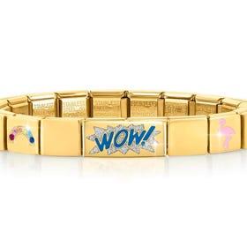 GLAM Gold Rainbow & Flamingo Wow Bracelet