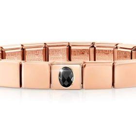 GLAM Rose Gold Black Faceted Oval CZ Bracelet