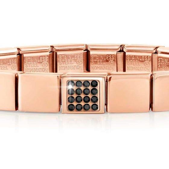GLAM Rose Gold Pave Black Crystal Bracelet