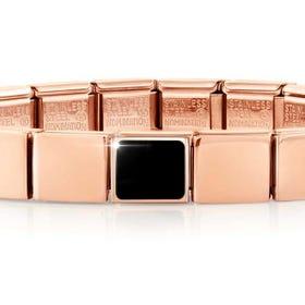 GLAM Rose Gold Black Agate Square Bracelet