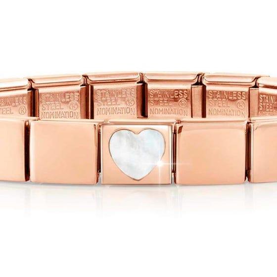 GLAM Rose Gold Mother of Pearl Heart Bracelet