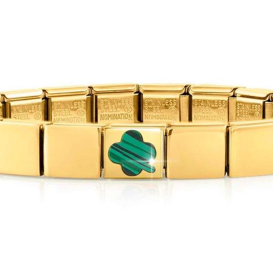 GLAM Gold Malachite Lucky Clover Bracelet