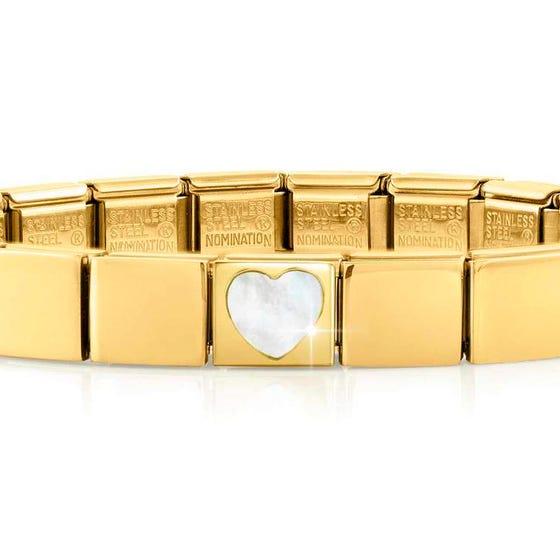 GLAM Gold Mother of Pearl Heart Bracelet